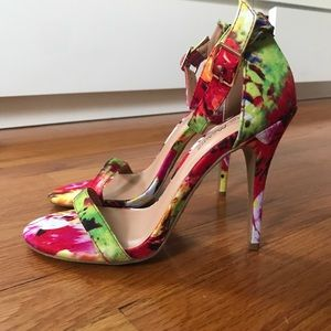 Women's Anne Michelle Floral Ankle Strap Heels